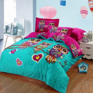 Cotton Kids Boys d Owl Bedding set Twin Queen King Size Bed Linen Bed Sheet