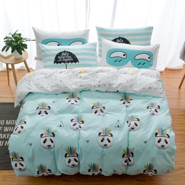 Cotton Owl Panda Fox Cat Bedding Set Cartoon Modern Flower Queen Size Stripe Bed font