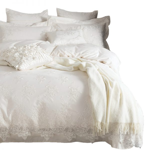 Egyptian cotton Bedding set White luxury Embroidered font b duvet b font font b cover