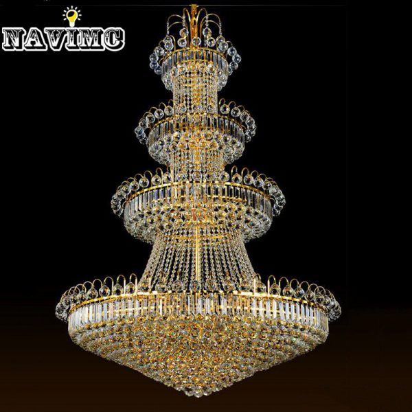 cm Luxury Big Europe Large Gold Luster Crystal font b Chandelier b font Light Fixture Classic
