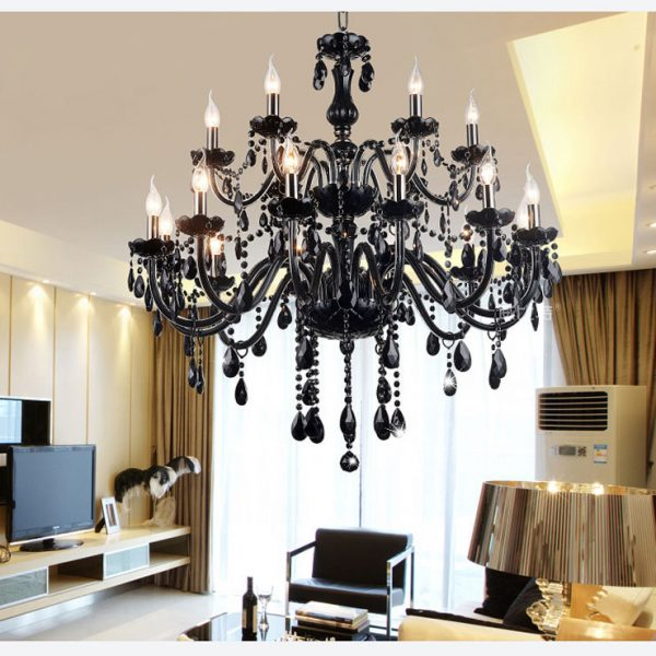 Lights Luxury black crystal font b Chandelier b font lighting lamp candle crystal font b