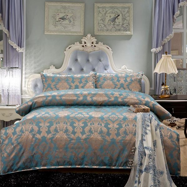 palace style Luxury bedding set pcs Silk bed linen sets queen king size Quilt font