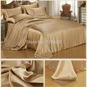 Free Shipping  pcs mulberry Silk Bedding Set  color silk satin flat sheet and