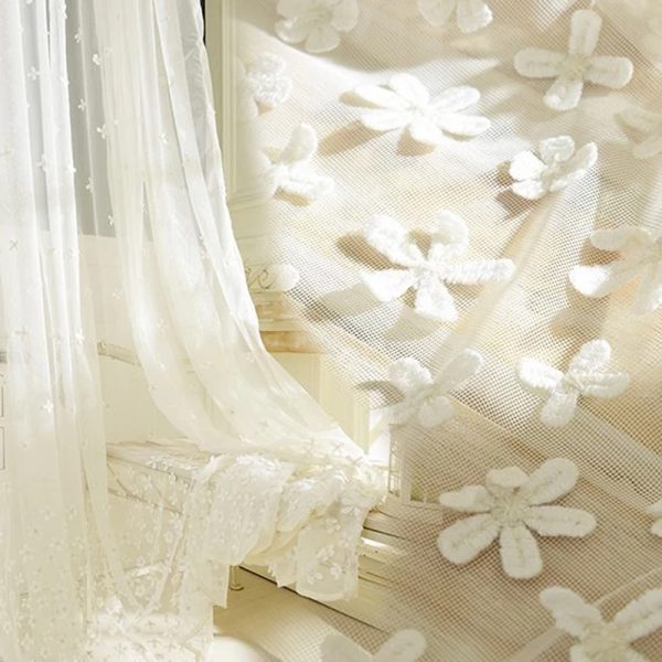 Korean Embroidered Embossment Tulle font b Curtains b font For Bedroom Window font b Curtain