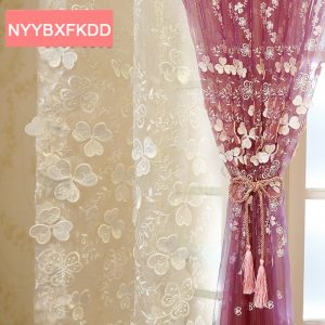 Korean Solid Embroidered Tulle font b Curtains b font for Living Room Window font b