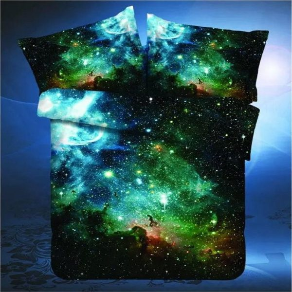 New D Hipster Galaxy Bedding Set Universe Outer Space Themed Galaxy Print Bed linen font