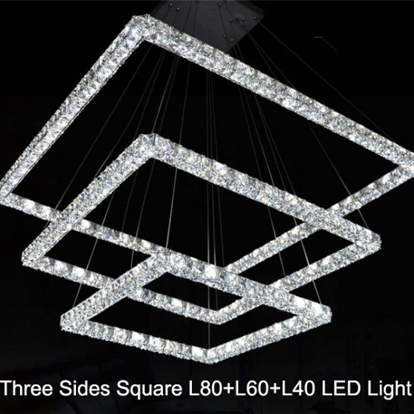 New Big three sides crystal LED font b chandeliers b font L L Lcm squares