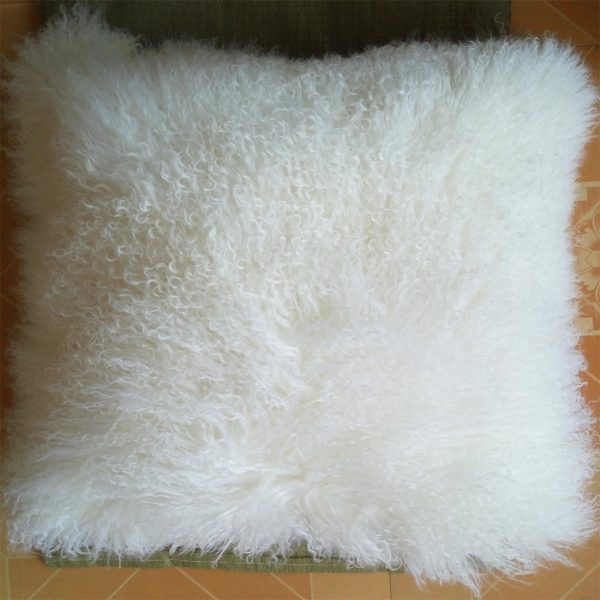 REAL WHITE MONGOLIAN FUR PILLOW font b COVER b font font b CUSHION b font