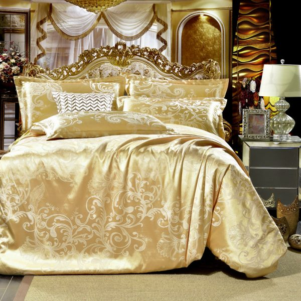 Gray flowers High Quality Silk Tencel satin Jacquard Bed linen Bedding set Queen king