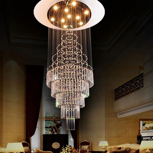 New Luxury staircase long crystal font b chandelier b font art deco stairwel luster designer