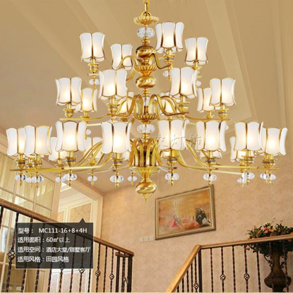arms hotel lobby copper lamp Large font b chandelier b font Luminaria lustres Antique font