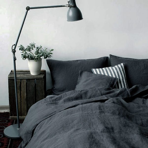 Piece set Dark Gray Natural enzyme washing  Pure Linen bedding Sets Linen font b