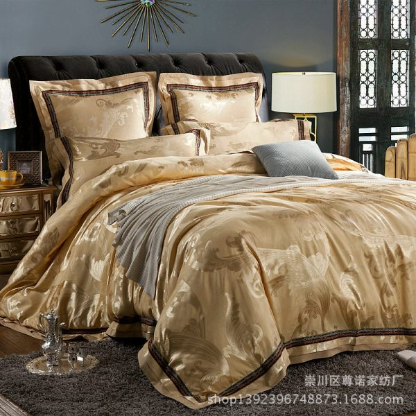 pcs satin jacquard font b bedding b font font b set b font pure cotton high