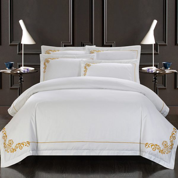 S Egypt Cotton Oriental Embroidery White Color Hotel Bedding sets King Queen size Bed set font