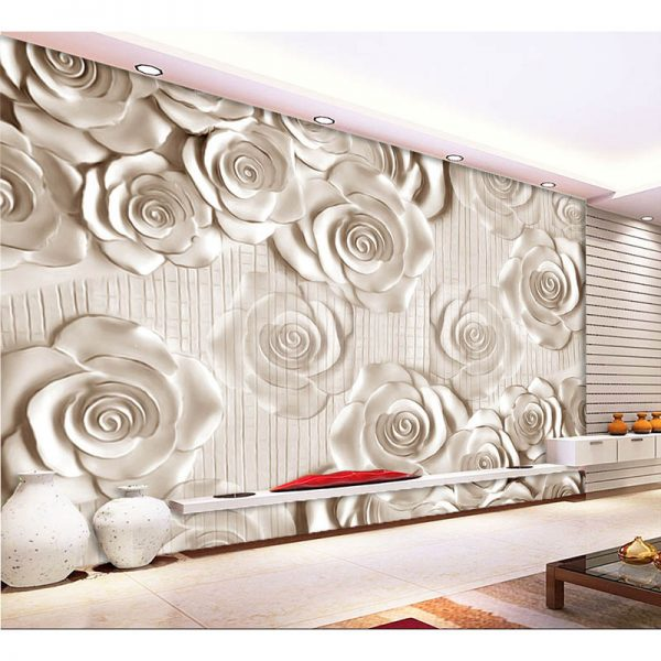 Any size D wall mural font b wallpaper b font New modern fashion rose relief font