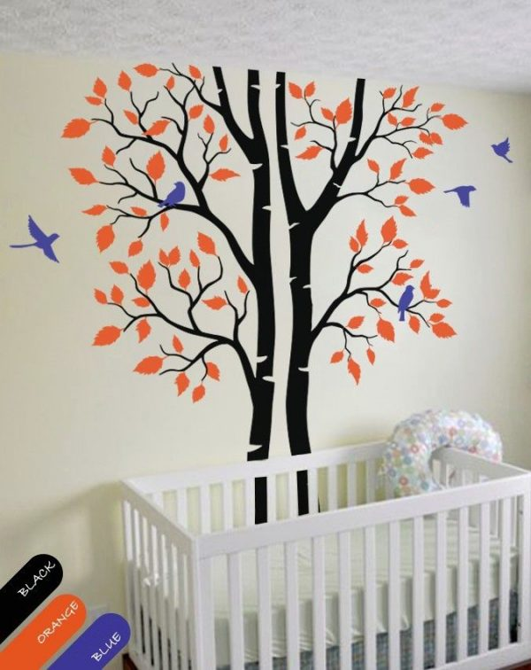 Autumn tree font b wall b font decal trees and birds font b wall b font