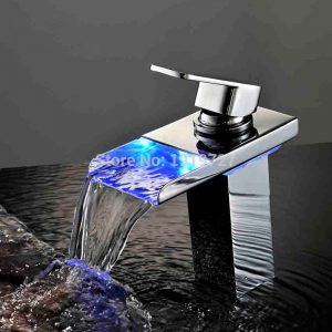Bathroom font b Faucet b font Personality Design Deck Mounted Soild Color Wholesale Led Light Waterfall