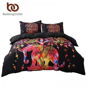 BeddingOutlet Black Bedding Set Black and Red Boho font b Duvet b font font b Cover