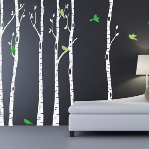 Birch Trees font b Wall b font Decal With Bird and Leaves Huge Tree Forest font