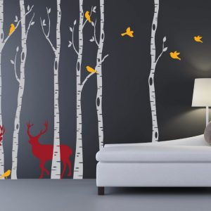 Birch Trees font b Wall b font Decal with Deers and Birds Huge Tree Forest font