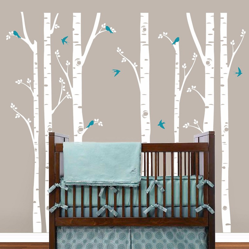 Birch Trees Wall Decals Tree Wall Sticker Removable White Bbirch