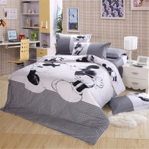 Black and white Mickey Mouse pcs Bedding Set Full Queen King Size Sheet set Bed linen