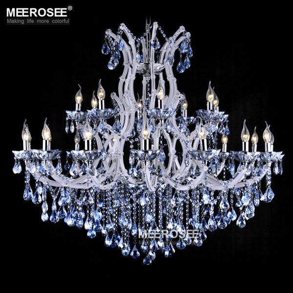 blue color maria theresa crystal chandelier lamp light lighting fixture large white