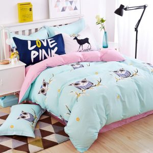 Blue owl girls boys bedding set bright color fish horse music car bed linen kids font