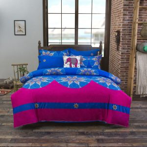 Bohemian style super king Bedding sets rosered bedclothes  or Pcs bed Flat linen sheet font