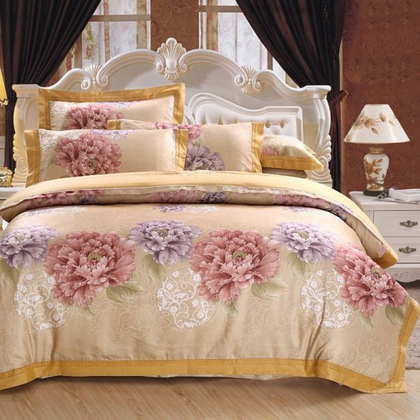 Brand Luxury jacquard bed linen satin pcs  cotton satin bedding set font b duvet b