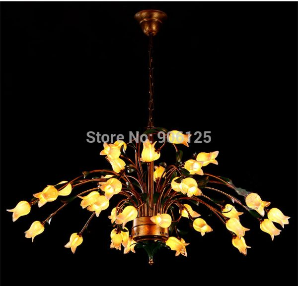 Creative Large LED font b Chandelier b font Light Lighting Rural Style Tulip Flower font b
