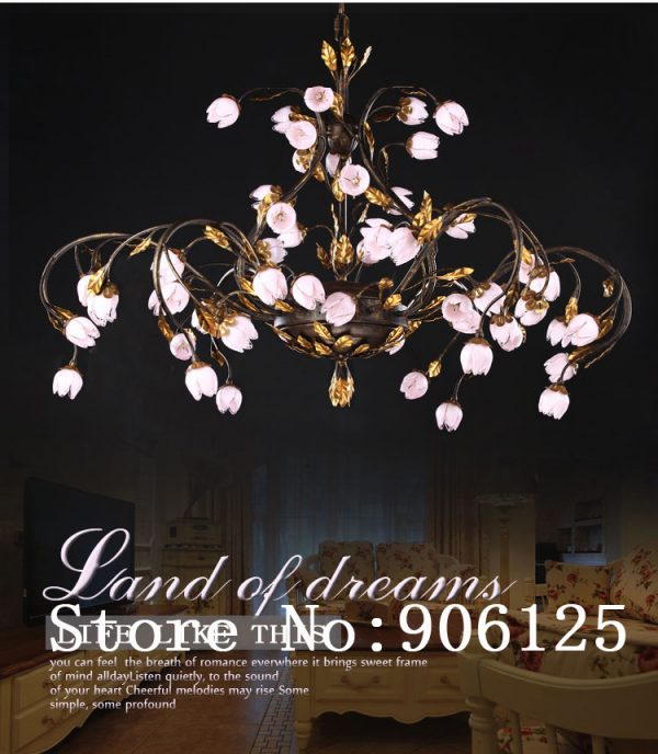 Creative Large font b Chandelier b font Light Lighting Rural Style Cherry Flower font b Chandelier