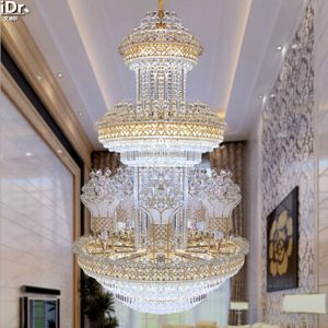 Crystal Light penthouse floor staircase in the living room floor headlights long light lamp hotel project