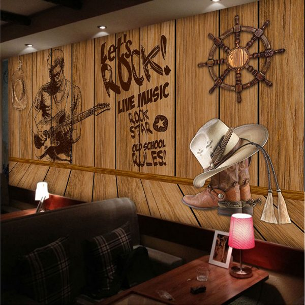 Custom D stereoscopic creative personality nostalgic wooden sailing large music theme font b wallpaper b font