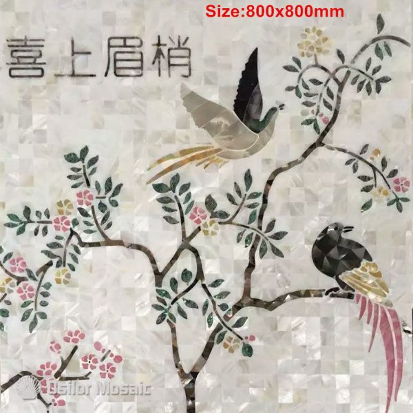 Customized handcrafted mosaic art mother of pearl mosaic tile art murals for interior house decoration flower