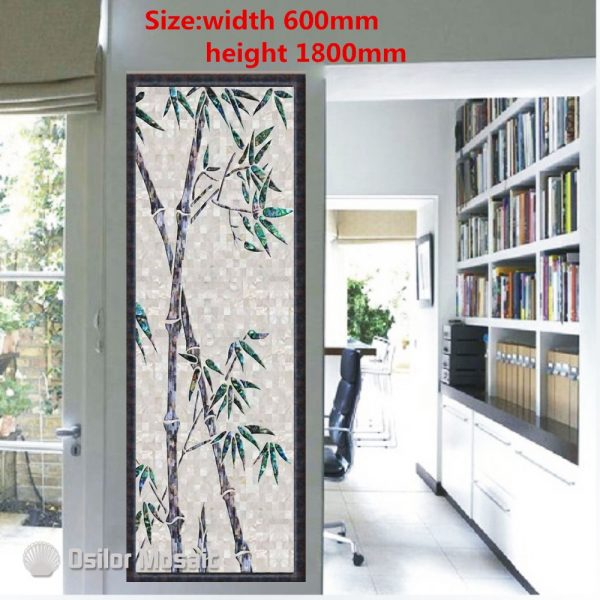 Customized handmade mosaic art mother of pearl mosaic tile art murals for interior house decoration bamboo