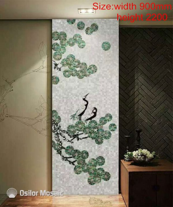 Customized handmade mosaic art mother of pearl mosaic tile art murals for interior house decoration bird