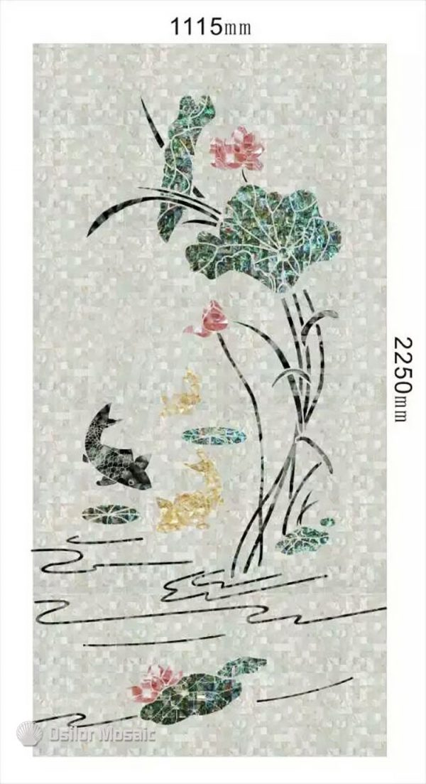 Customized handmade mosaic art mother of pearl mosaic tile art murals for interior house decoration lotus