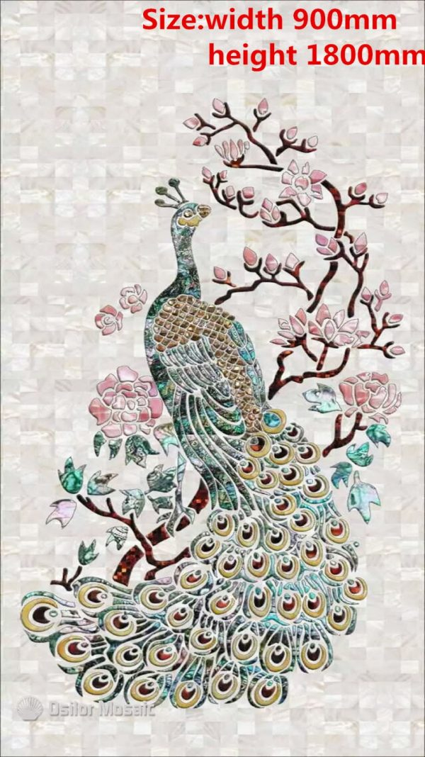 Customized handmade mosaic art mother of pearl mosaic tile art murals for interior house decoration peacock