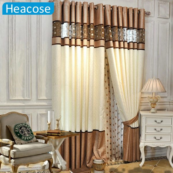DHL shipping M Simple gold leather window jacquard chenille font b curtains b font European mosaic