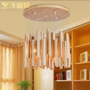 Designer Wapton personality lamp simple living room restaurant wooden lamp Wood Art font b Chandelier b