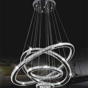 Diamond Crystal Ring LED font b Chandelier b font Crystal Lamp Modern Crystal Light Fixture Circle