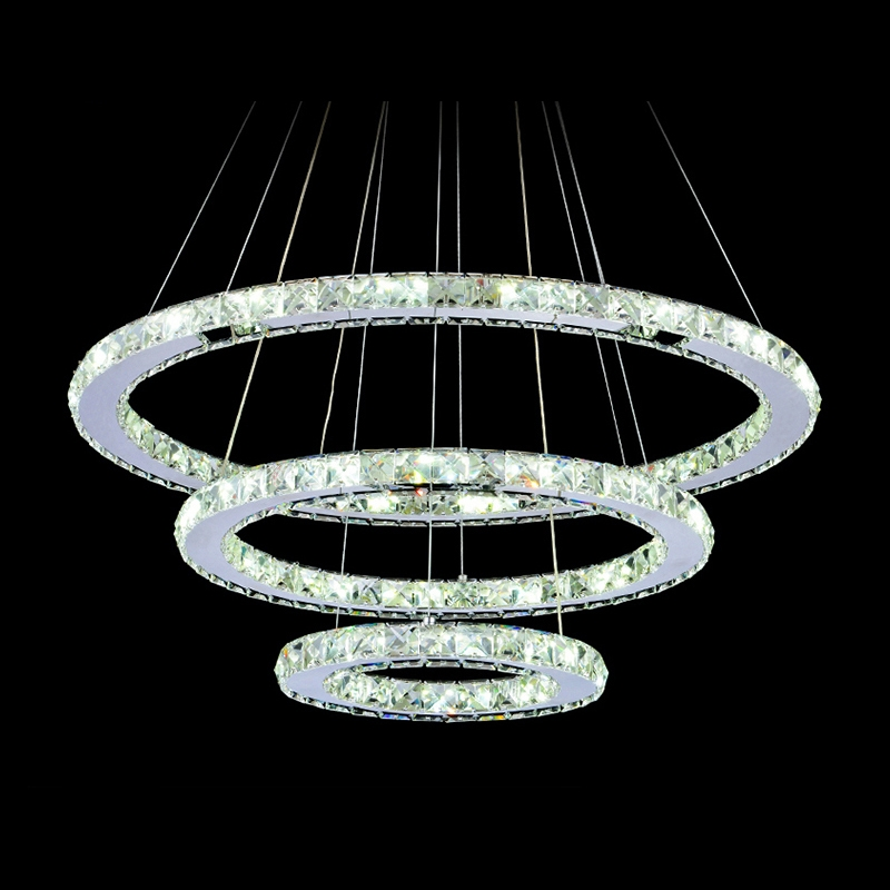 diamond crystal ring led chandelier crystal lamp modern crystal light fixture circle hanging. Black Bedroom Furniture Sets. Home Design Ideas
