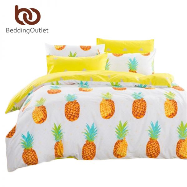 Dropshipping Pineapple Bedding Set Sweet Printed Fruit Bedsheet Soft  Cotton font b Duvet b font