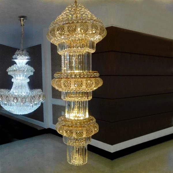 Duplex House floor font b chandelier b font Golden Crystal font b chandelier b font Lamp