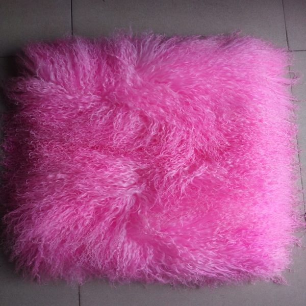 Dye Pink Mongolian Fur Pillow font b Cover b font Decorative Throw Pillows New font b