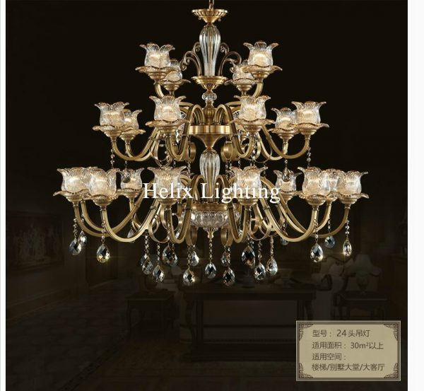 European Free Shipping Dcm Brass font b Chandelier b font L Brozne LED Lustres Home font