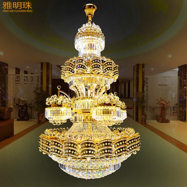 European style font b chandelier b font crystal lamp double entry building villa living room droplight