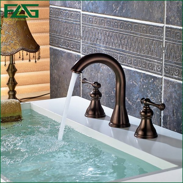 FLG European Bath Mat Oil Rubbed Bronze Dual Holder Three hole Deck Mounted Bathroom font b