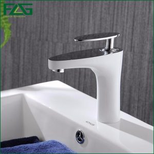 FLG font b Basin b font font b Faucet b font Grilled White Paint Chrome Finish